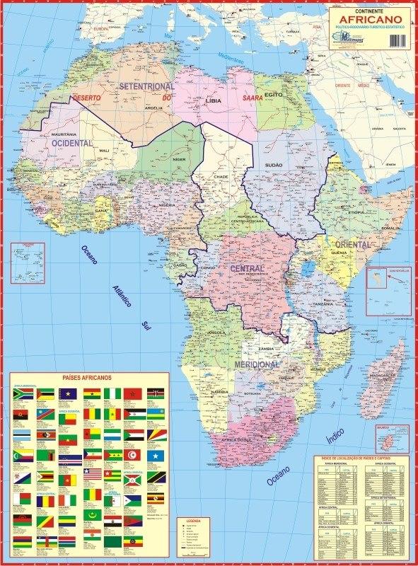 Mapa Geogrático Político Gigante Continente Africano Africa - R$ 16