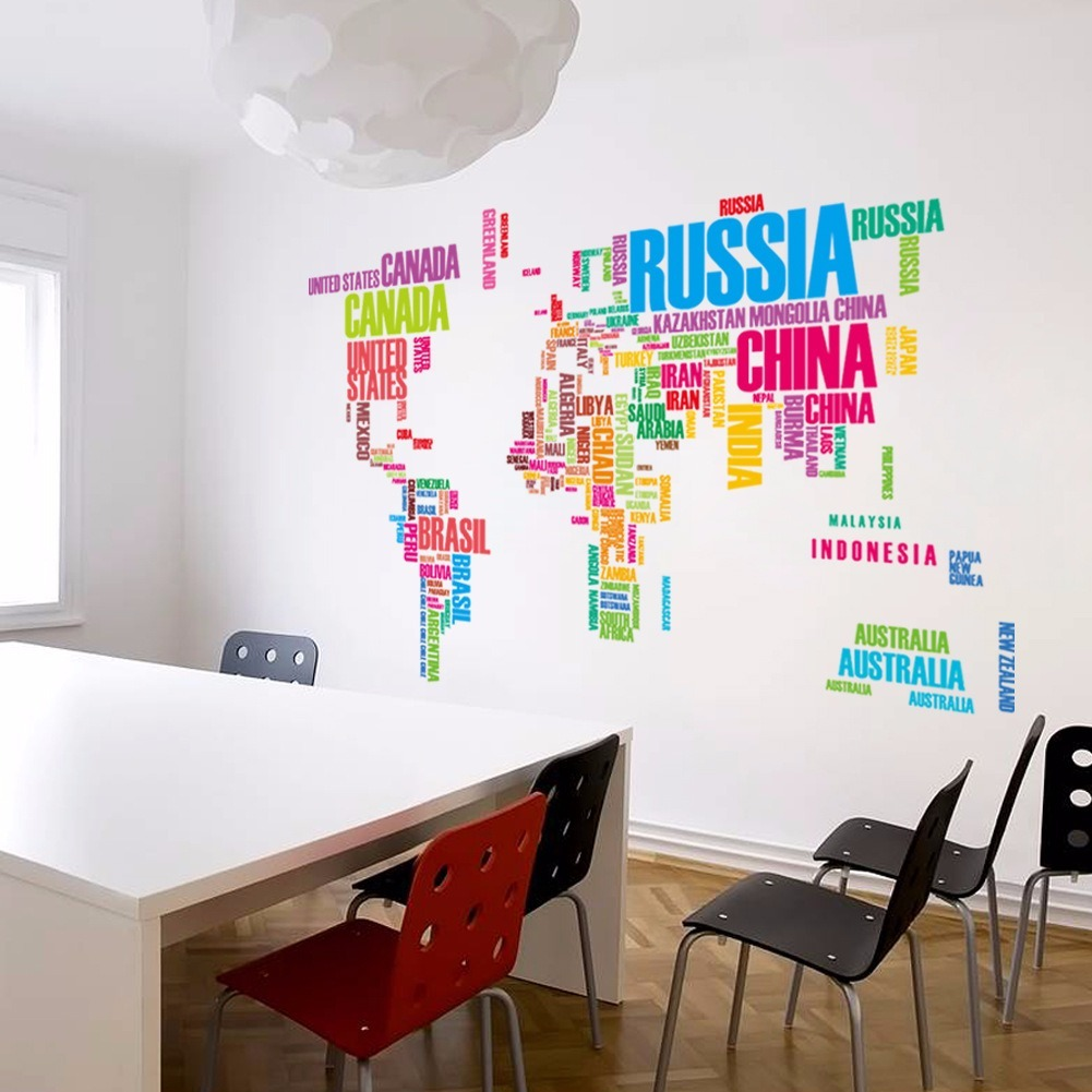 Decora Tu Pared 3d Mapa Mundial Letras Color Vinil Sticker Mapamundi Pared