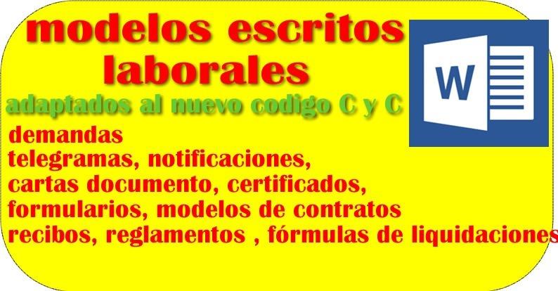 Modelos Escritos Demandas Contrato Trabajo C/ Nuevo Codigo - $ 95,00 - modelos de certificados