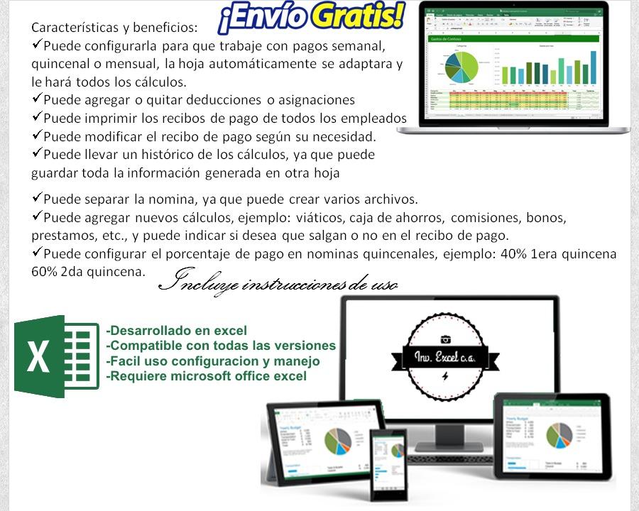 Nomina 2018 Control Recibo De Pago Lott Plantilla Hoja Excel - Bs