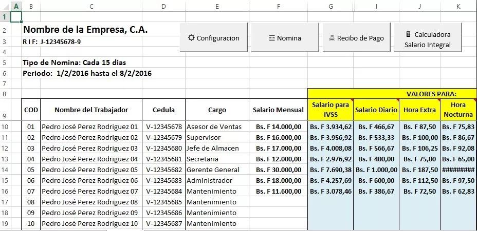 Nomina 2019 Control Recibo De Pago Lottt En Excel R M - Bs 4500,00