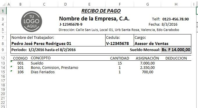 Nomina 2019 Control Recibo De Pago Lottt Plantilla Hoj Excel - Bs
