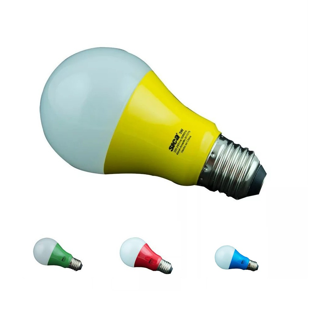 Lampara Led Colores Pack X10 Lampara Led Colores E27 Sica 3w Color