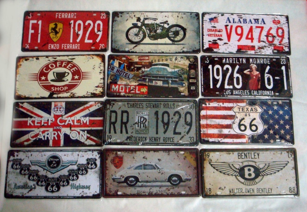 Placas Metalicas Decorativas Placas Metalicas Decorativas Retro Vintage X 10 Unidades