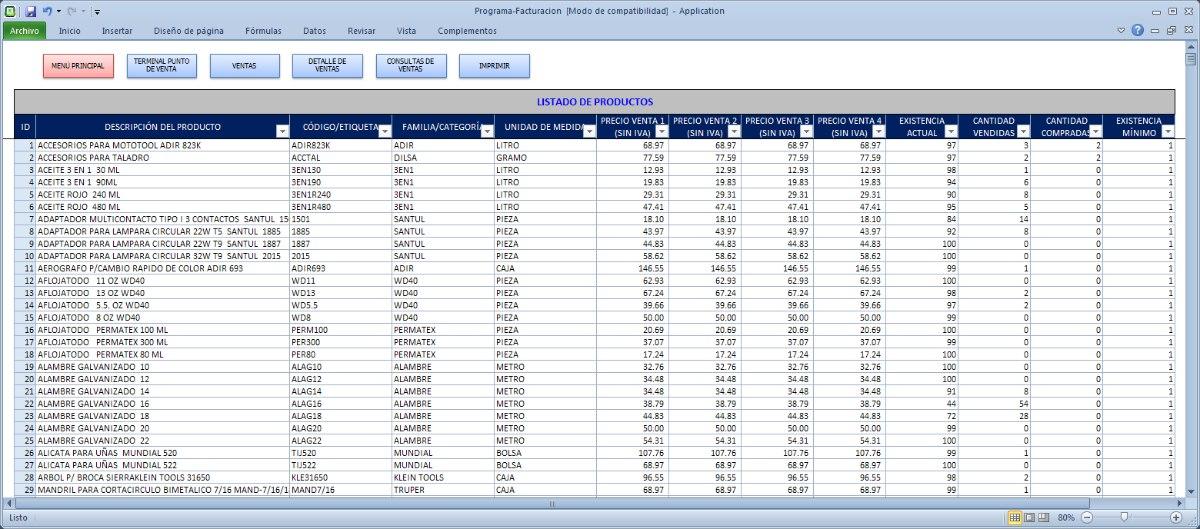 Programa En Excel Facturación Cbb Compras Ventas Inventarios