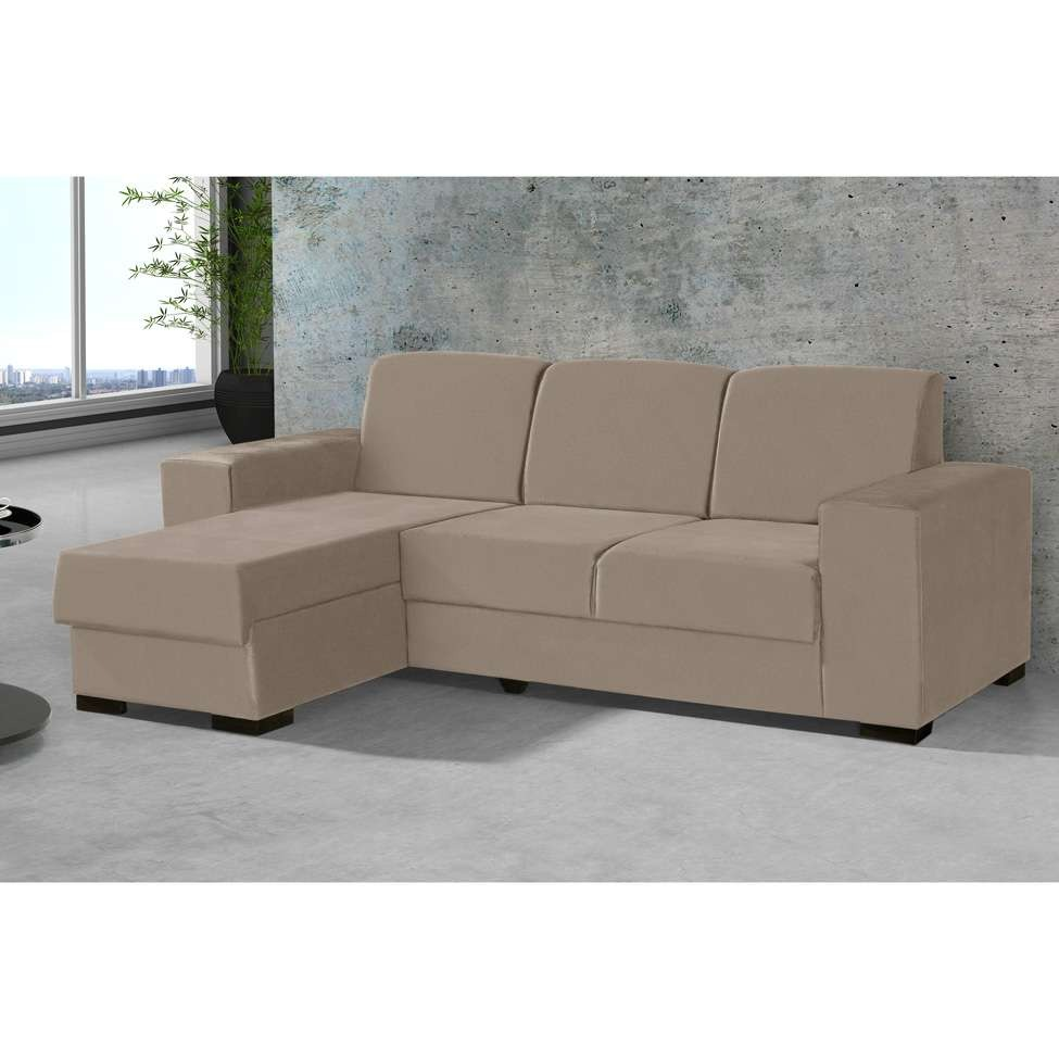 Mobly Sofa Chaise Sofá 3 Lugares Com Chaise Astro Suede Bege