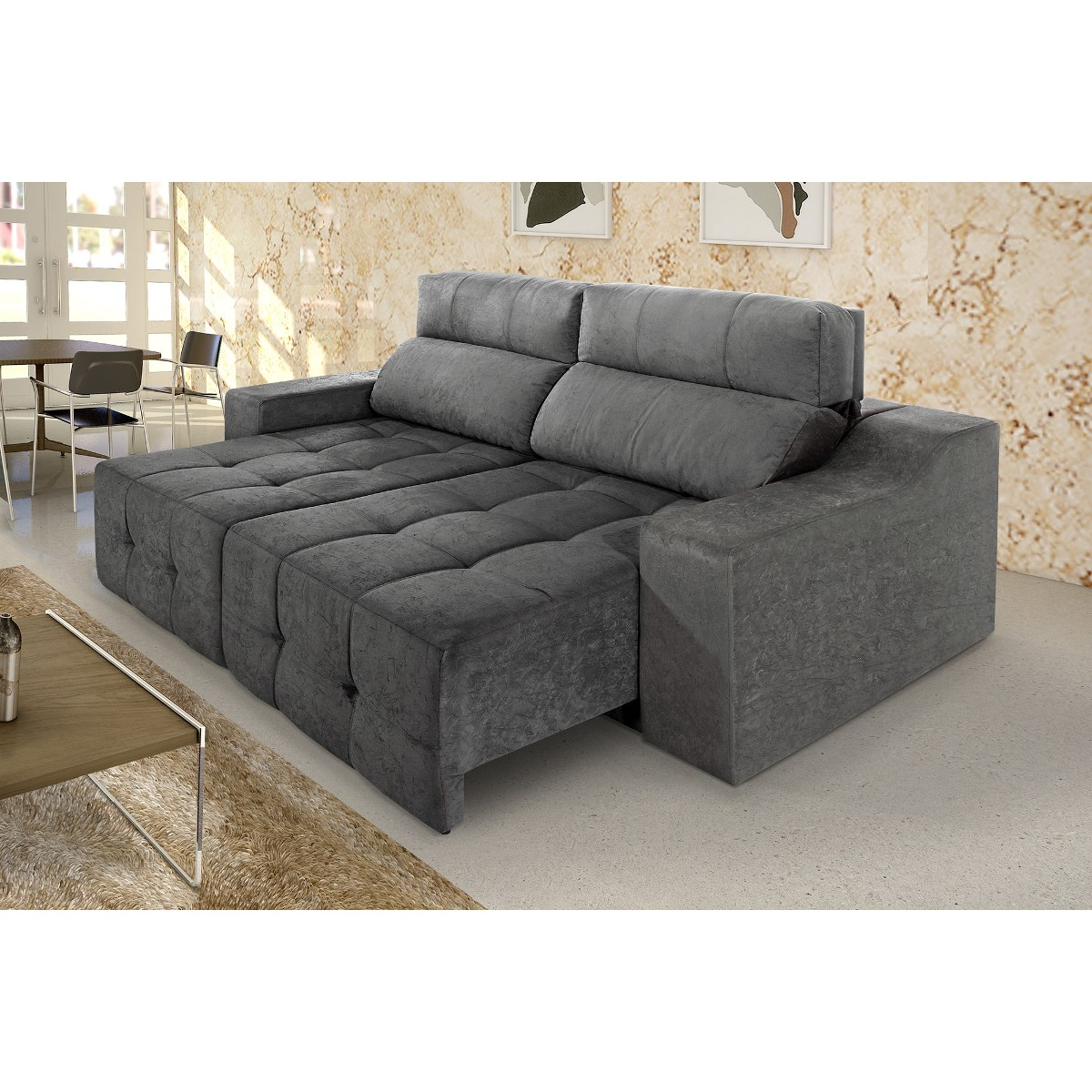 Sofa Retratil E Reclinavel Submarino Sofá 3 Lugares Connect Plus Retrátil Reclinável Suede Cinza
