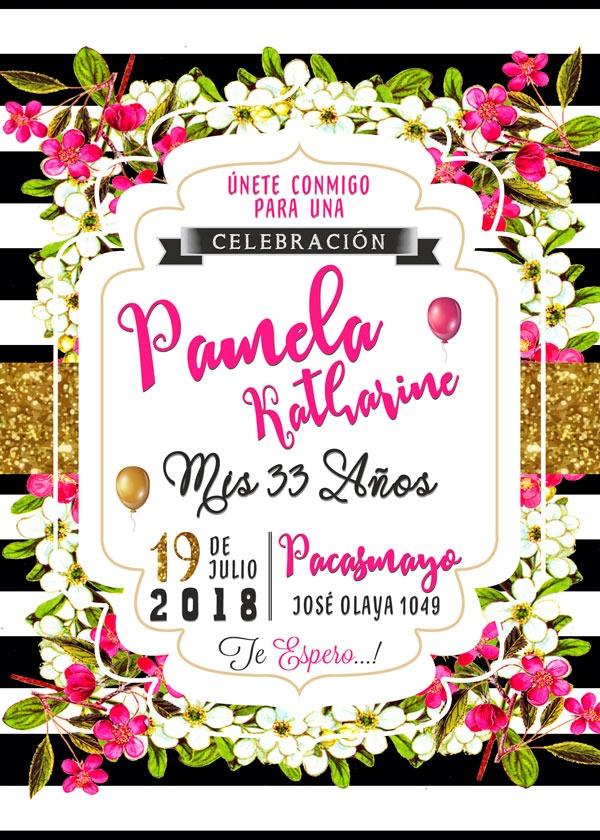 Tarjeta De Invitación Digital Cumpleaños Adultos Flores - U$S 3,00