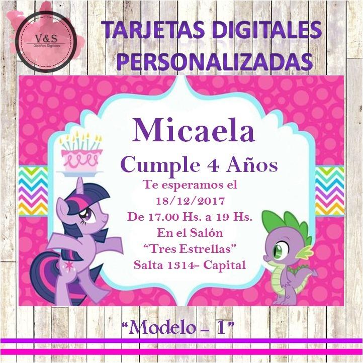 Tarjeta Digital De Cumpleaños My Little Pony Whatsapp Redes - $ 80