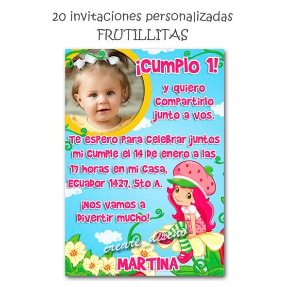 Tarjetas Invitaciones Cumpleaños + Cartel C Foto Frutillita - $ 350