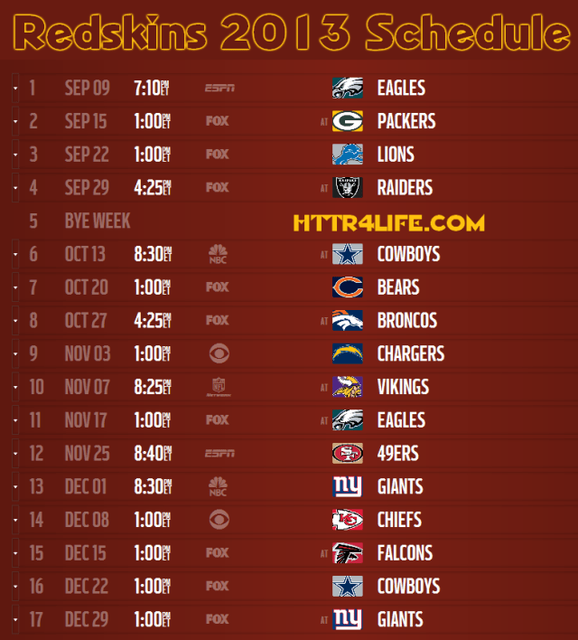 schedule111 Redskins 2013 Schedule Announced
