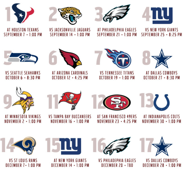 Washington Redskins 2014 Schedule Washington Redskins 2014 Schedule