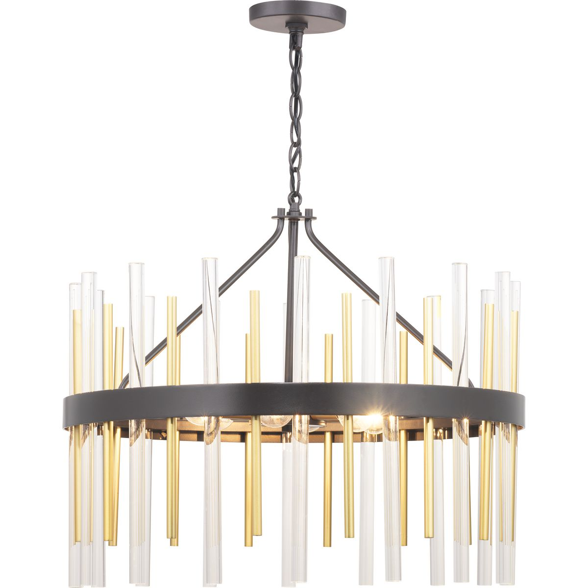 Orrizo Collection Six Light Matte Black Clear Glass Luxe Chandelier Light P400176 031 Progress Lighting