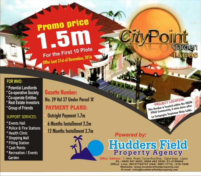 Plots of land for sale at City Point Garden Lagos - land for sale flyer