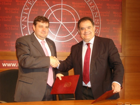 El rector y el alcalde de La Palma del Condado.