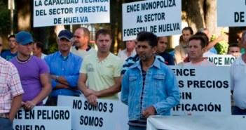 Concentracion madereros a las puertas de la Delegación del Gobierno andaluz. (Julián Pérez)