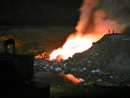 Imagen de archivo de un incendio anterior en el vertedero de Nerva.