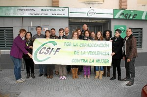 MIlitantes del sindicato CSIF en Huelva.