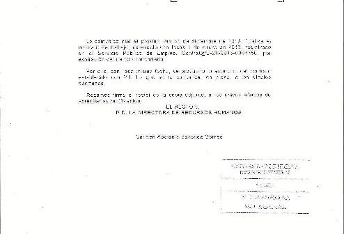 Carta de finalización de contrato.