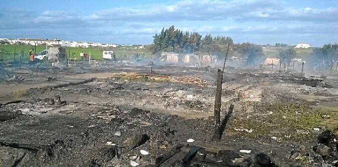 Imagen de archivo de otro incendio en un asentamiento en Lepe.