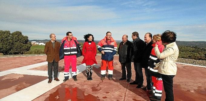 Inauguración del helipuerto en Cumbres Mayores.