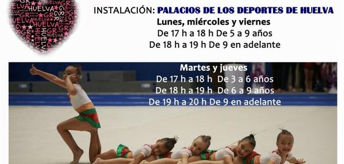 Cartel de la Escuela de Gimnasia Rítmica en Huelva.