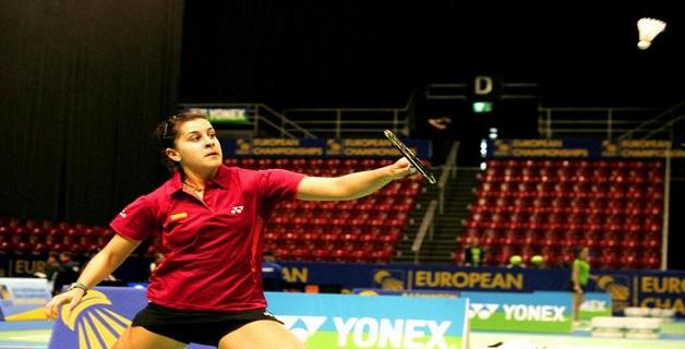 Carolina Marín, en el Open de Alemania.