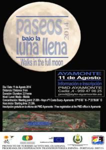 Cartel de la ruta 'Paseos bajo la luna llena' en Ayamonte.