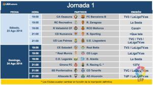 Horarios primera jornada liga en Segunda división.