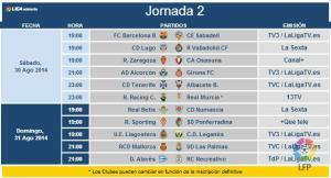 Horarios segunda jornada liga en Segunda división.