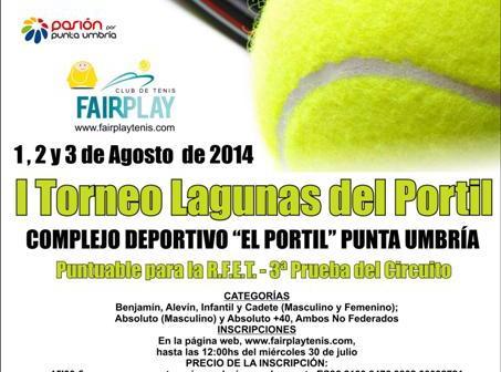 Cartel del torneo de tenis Lagunas de El Portil.