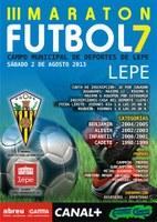 Cartel del Maratón de fútbol 7 en Lepe.