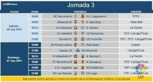 Jornada 3 de liga en Segunda división.