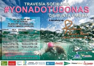 Cartel de la Travesía Solidaria en Punta Umbría.