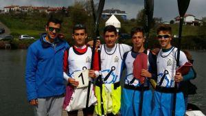 Equipo de piragüismo k4 del Real Club Marítimo de Huelva.