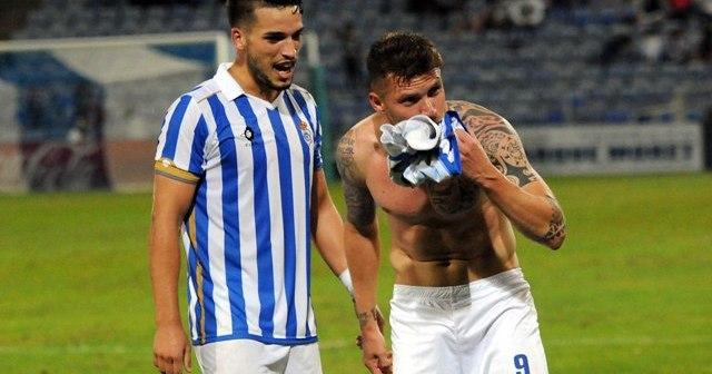 Iván Aguilar celebrando su gol.