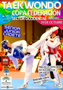 Cartel de la Copa Federación de taekwondo en Lepe.