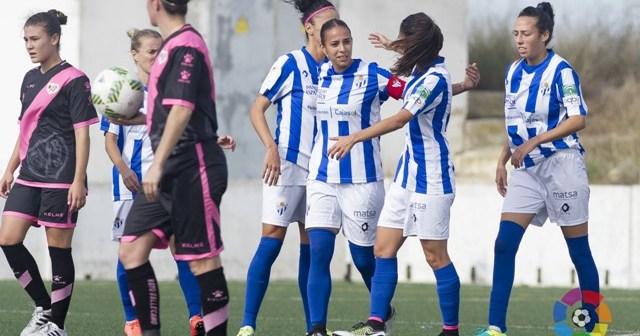 Jugadoras del Sporting celebrando un gol.