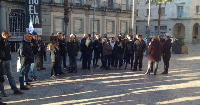 Concentración de los empleados del Recreativo de Huelva.