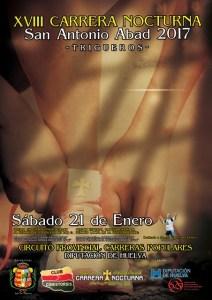 Cartel de la Carrera Nocturna San Antonio Abad en Trigueros.
