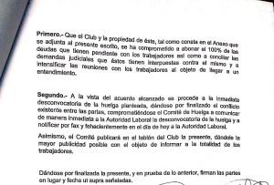 Acta desconvocatoria de la huelga de los empleados del Recreativo de Huelva.