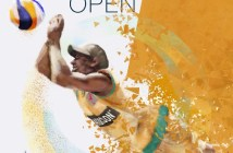 Cartel del Open Internacional de voley playa en Isla Canela.