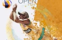 Cartel del Open Internacional de voley playa en Isla Canela.