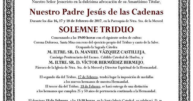 Triduo de La Merced Huelva