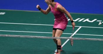 Carolina Marín en el Campeonato de Europa de bádminton.
