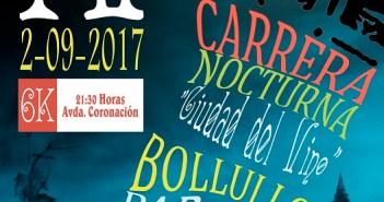 Cartel de la IV Carrera Nocturna Ciudad del Vino en Bollullos del Condado.
