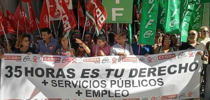 Protesta de los sindicatos por las 35 horas