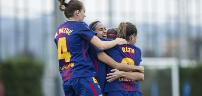 Jugadoras del FC Barcelona celebrando el triunfo ante el Sporting.