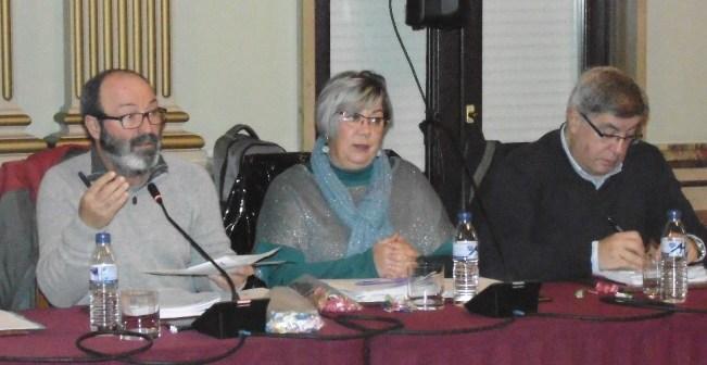 Los tres concejales de IU en el pleno de este miércoles.