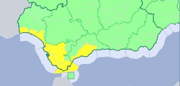 Aviso amarillo por lluvias en la costa de Huelva